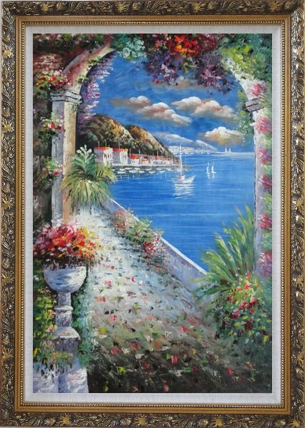 Framed Mediterranean Arch Oil Painting Naturalism Ornate Antique Dark Gold Wood Frame 42 x 30 Inches