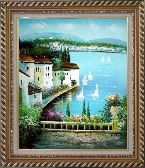 Framed Mediterranean Memory Oil Painting Naturalism Exquisite Gold Wood Frame 30 x 26 Inches