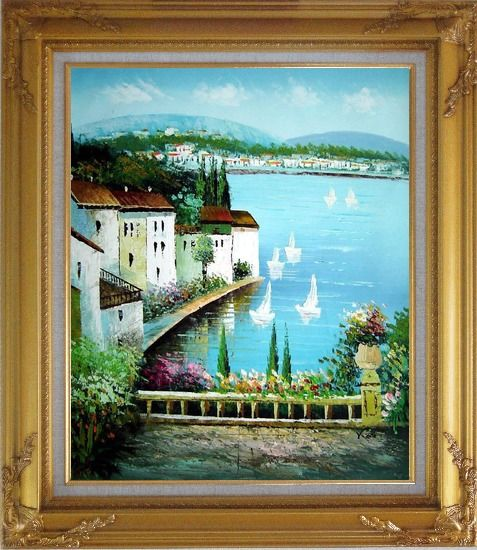 Framed Mediterranean Memory Oil Painting Naturalism Gold Wood Frame with Deco Corners 31 x 27 Inches