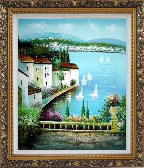 Framed Mediterranean Memory Oil Painting Naturalism Ornate Antique Dark Gold Wood Frame 30 x 26 Inches