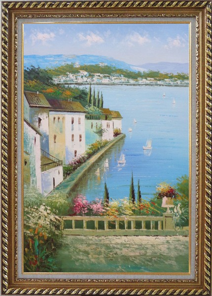 Framed Mediterranean Memory Oil Painting Naturalism Exquisite Gold Wood Frame 42 x 30 Inches