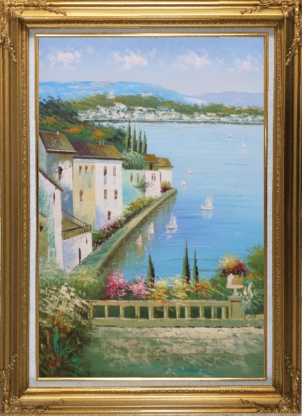Framed Mediterranean Memory Oil Painting Naturalism Gold Wood Frame with Deco Corners 43 x 31 Inches