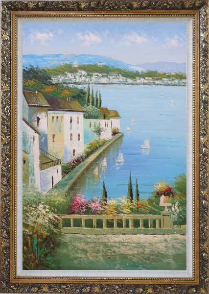 Framed Mediterranean Memory Oil Painting Naturalism Ornate Antique Dark Gold Wood Frame 42 x 30 Inches
