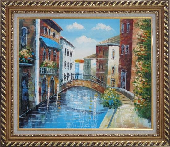 Framed Serene Summer Afternoon in Italian Venice Oil Painting Italy Naturalism Exquisite Gold Wood Frame 26 x 30 Inches