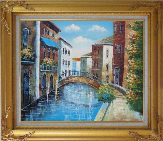 Framed Serene Summer Afternoon in Italian Venice Oil Painting Italy Naturalism Gold Wood Frame with Deco Corners 27 x 31 Inches