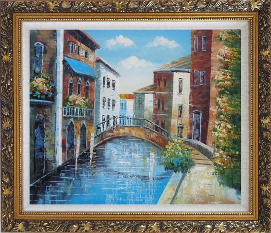 Framed Serene Summer Afternoon in Italian Venice Oil Painting Italy Naturalism Ornate Antique Dark Gold Wood Frame 26 x 30 Inches