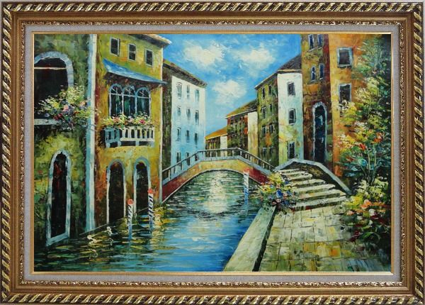 Framed Serene Summer Afternoon in Italian Venice Oil Painting Italy Naturalism Exquisite Gold Wood Frame 30 x 42 Inches