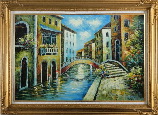 Framed Serene Summer Afternoon in Italian Venice Oil Painting Italy Naturalism Gold Wood Frame with Deco Corners 31 x 43 Inches