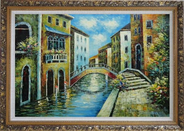 Framed Serene Summer Afternoon in Italian Venice Oil Painting Italy Naturalism Ornate Antique Dark Gold Wood Frame 30 x 42 Inches