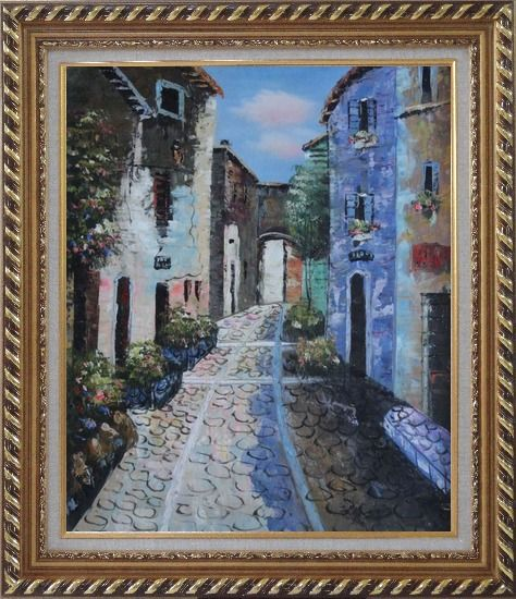 Framed Narrow Cobbled Street Oil Painting Mediterranean Naturalism Exquisite Gold Wood Frame 30 x 26 Inches