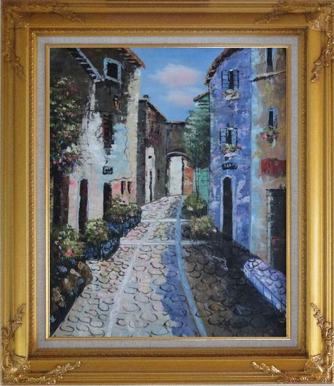Framed Narrow Cobbled Street Oil Painting Mediterranean Naturalism Gold Wood Frame with Deco Corners 31 x 27 Inches