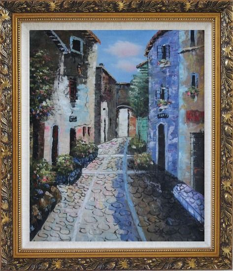 Framed Narrow Cobbled Street Oil Painting Mediterranean Naturalism Ornate Antique Dark Gold Wood Frame 30 x 26 Inches