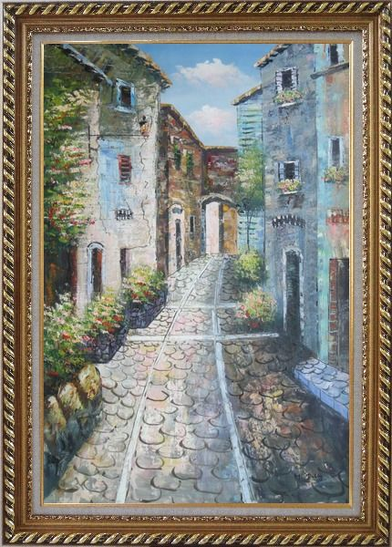 Framed Narrow Cobbled Street Oil Painting Mediterranean Naturalism Exquisite Gold Wood Frame 42 x 30 Inches