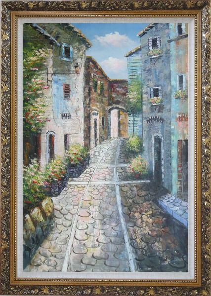 Framed Narrow Cobbled Street Oil Painting Mediterranean Naturalism Ornate Antique Dark Gold Wood Frame 42 x 30 Inches