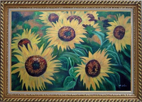 Framed Large Sunflower Heads Oil Painting Landscape Field Naturalism Exquisite Gold Wood Frame 30 x 42 Inches
