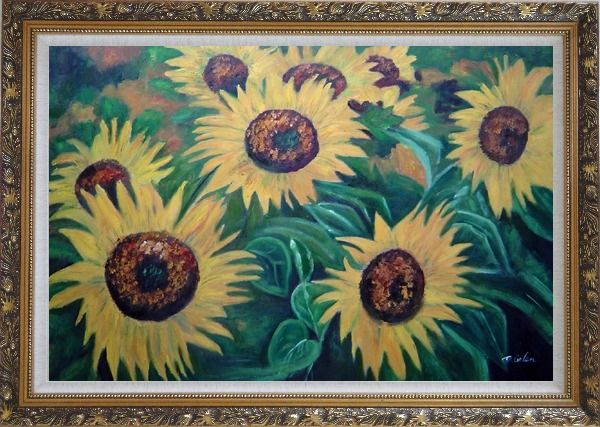 Framed Large Sunflower Heads Oil Painting Landscape Field Naturalism Ornate Antique Dark Gold Wood Frame 30 x 42 Inches