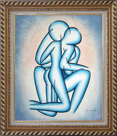 Framed Modern Romantic Painting of Kiss Oil Portraits Couple Exquisite Gold Wood Frame 30 x 26 Inches