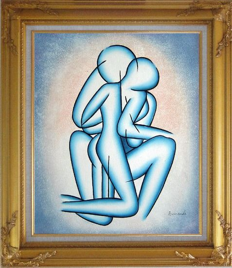Framed Modern Romantic Painting of Kiss Oil Portraits Couple Gold Wood Frame with Deco Corners 31 x 27 Inches