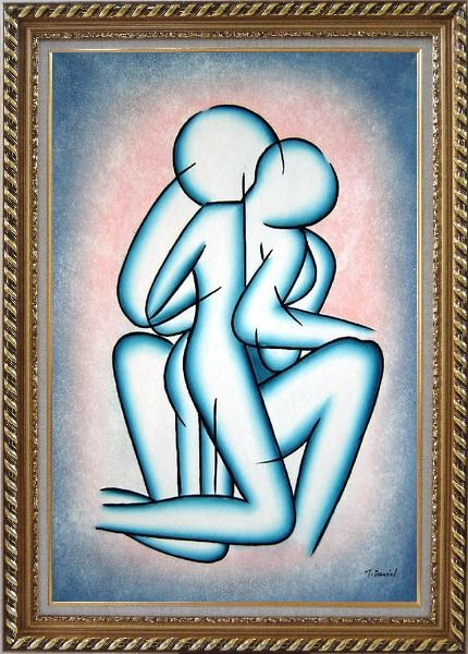 Framed Modern Romantic Painting of Kiss Oil Portraits Couple Exquisite Gold Wood Frame 42 x 30 Inches