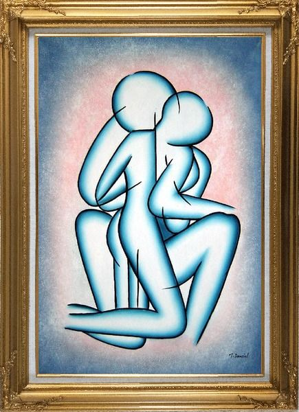 Framed Modern Romantic Painting of Kiss Oil Portraits Couple Gold Wood Frame with Deco Corners 43 x 31 Inches