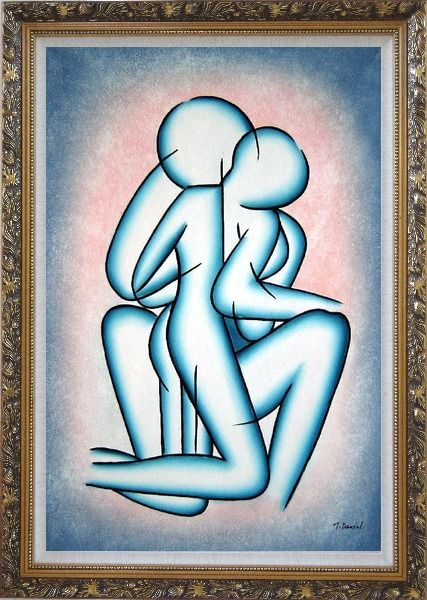 Framed Modern Romantic Painting of Kiss Oil Portraits Couple Ornate Antique Dark Gold Wood Frame 42 x 30 Inches