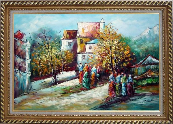 Framed Ladies at Rural Village Street in Sunny Day Oil Painting Impressionism Exquisite Gold Wood Frame 30 x 42 Inches