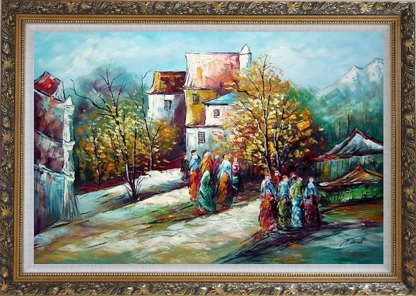 Framed Ladies at Rural Village Street in Sunny Day Oil Painting Impressionism Ornate Antique Dark Gold Wood Frame 30 x 42 Inches