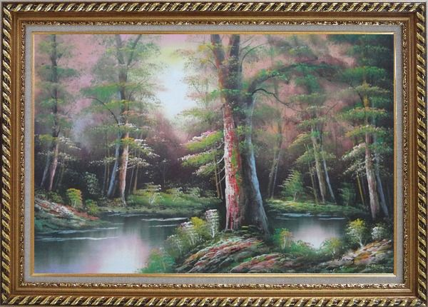 Framed Lake Scenery in Autumn Forest Oil Painting Landscape River Naturalism Exquisite Gold Wood Frame 30 x 42 Inches