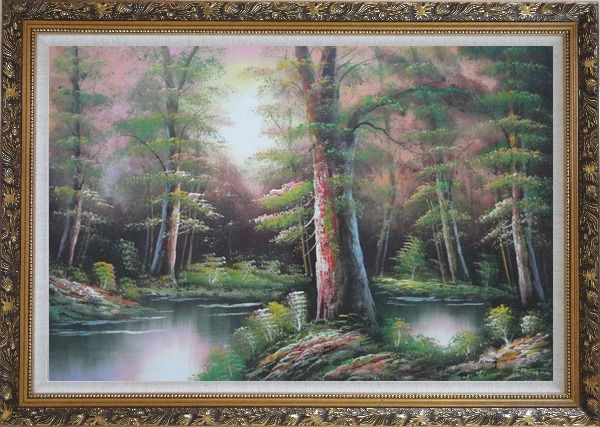 Framed Lake Scenery in Autumn Forest Oil Painting Landscape River Naturalism Ornate Antique Dark Gold Wood Frame 30 x 42 Inches