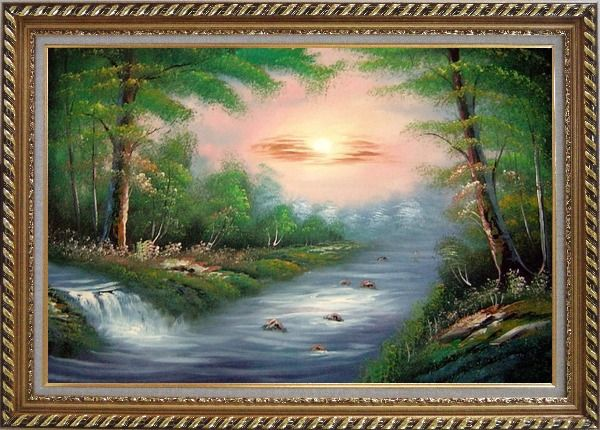 Framed Water Stream Merge with the Main Branch of the River Oil Painting Landscape Naturalism Exquisite Gold Wood Frame 30 x 42 Inches