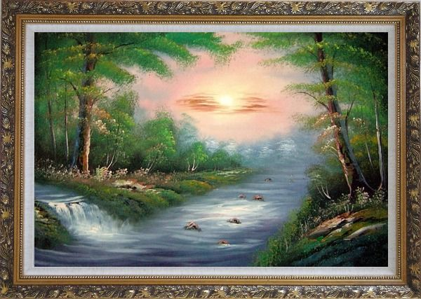 Framed Water Stream Merge with the Main Branch of the River Oil Painting Landscape Naturalism Ornate Antique Dark Gold Wood Frame 30 x 42 Inches