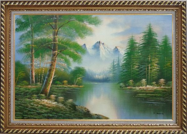 Framed Quiet Path to Calm Lake within Forest Oil Painting Landscape Tree Naturalism Exquisite Gold Wood Frame 30 x 42 Inches