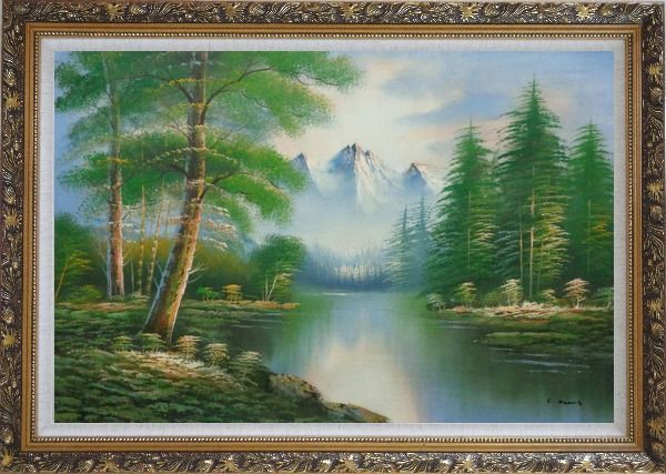 Framed Quiet Path to Calm Lake within Forest Oil Painting Landscape Tree Naturalism Ornate Antique Dark Gold Wood Frame 30 x 42 Inches