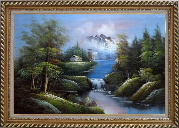 Framed Rural Landscape in Early Spring Oil Painting River Naturalism Exquisite Gold Wood Frame 30 x 42 Inches