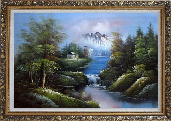 Framed Rural Landscape in Early Spring Oil Painting River Naturalism Ornate Antique Dark Gold Wood Frame 30 x 42 Inches