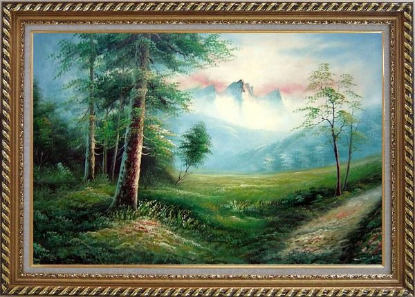 Framed Meadow Field, Forest, Path, and Snow Mountain Oil Painting Landscape Naturalism Exquisite Gold Wood Frame 30 x 42 Inches