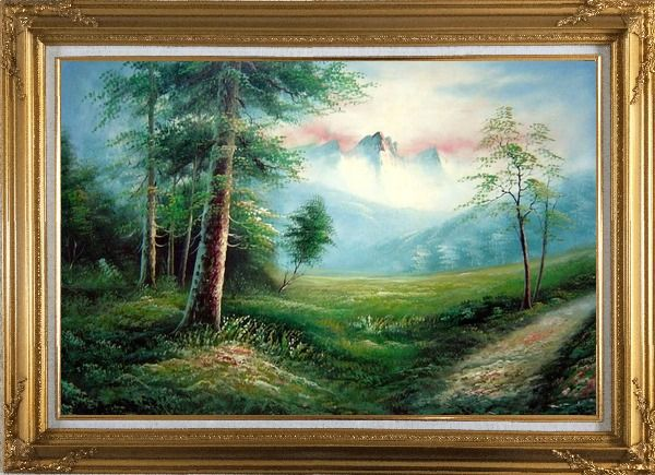 Framed Meadow Field, Forest, Path, and Snow Mountain Oil Painting Landscape Naturalism Gold Wood Frame with Deco Corners 31 x 43 Inches