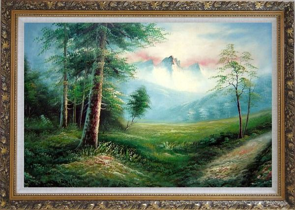 Framed Meadow Field, Forest, Path, and Snow Mountain Oil Painting Landscape Naturalism Ornate Antique Dark Gold Wood Frame 30 x 42 Inches