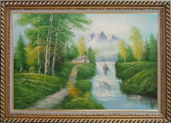 Framed Cabin, Spring Cascade Water Fall and Snow Mountain Oil Painting Landscape Waterfall Naturalism Exquisite Gold Wood Frame 30 x 42 Inches