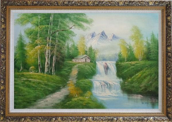 Framed Cabin, Spring Cascade Water Fall and Snow Mountain Oil Painting Landscape Waterfall Naturalism Ornate Antique Dark Gold Wood Frame 30 x 42 Inches