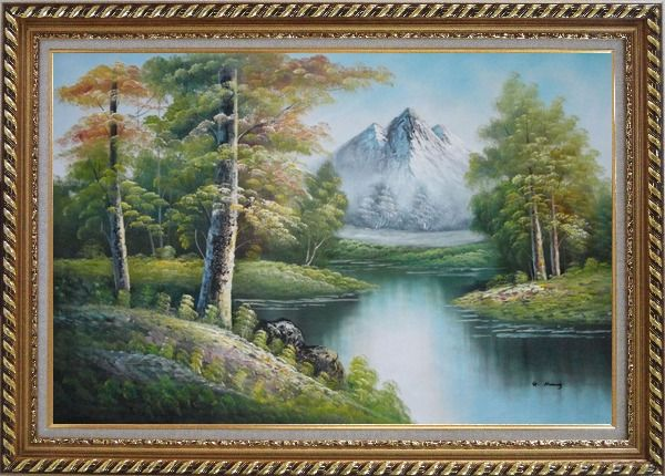 Framed Quiet Stream and Trees Under Snow Mountain in Alaska Oil Painting Landscape River Naturalism Exquisite Gold Wood Frame 30 x 42 Inches