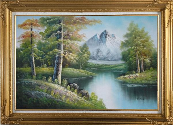 Framed Quiet Stream and Trees Under Snow Mountain in Alaska Oil Painting Landscape River Naturalism Gold Wood Frame with Deco Corners 31 x 43 Inches