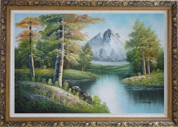 Framed Quiet Stream and Trees Under Snow Mountain in Alaska Oil Painting Landscape River Naturalism Ornate Antique Dark Gold Wood Frame 30 x 42 Inches