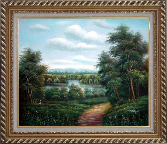 Framed Trail of Serenity Oil Painting Landscape River Classic Exquisite Gold Wood Frame 26 x 30 Inches