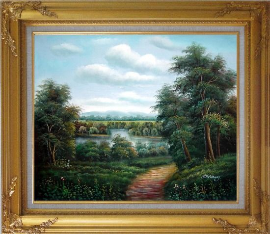 Framed Trail of Serenity Oil Painting Landscape River Classic Gold Wood Frame with Deco Corners 27 x 31 Inches
