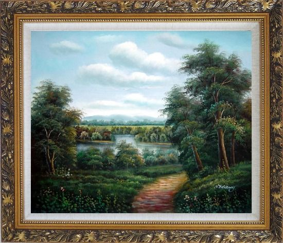 Framed Trail of Serenity Oil Painting Landscape River Classic Ornate Antique Dark Gold Wood Frame 26 x 30 Inches