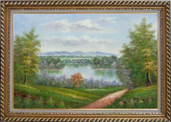 Framed Trail of Serenity Oil Painting Landscape River Classic Exquisite Gold Wood Frame 30 x 42 Inches