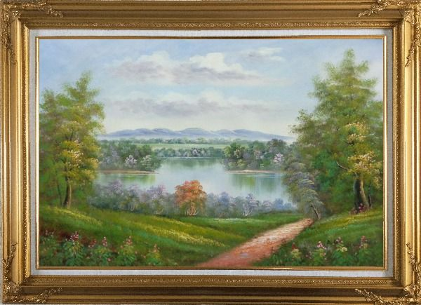 Framed Trail of Serenity Oil Painting Landscape River Classic Gold Wood Frame with Deco Corners 31 x 43 Inches