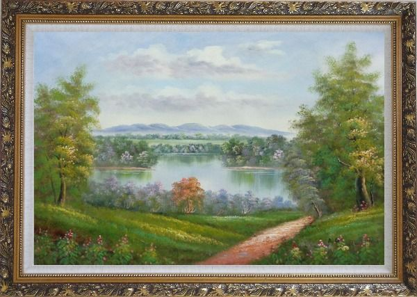 Framed Trail of Serenity Oil Painting Landscape River Classic Ornate Antique Dark Gold Wood Frame 30 x 42 Inches