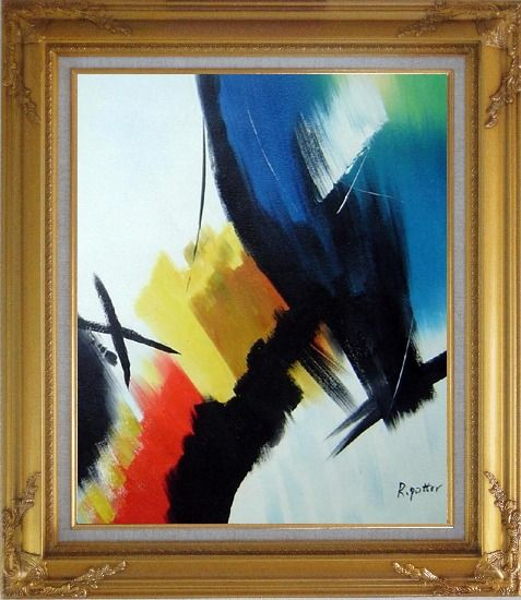 Framed Majestic II Oil Painting Nonobjective Decorative Gold Wood Frame with Deco Corners 31 x 27 Inches